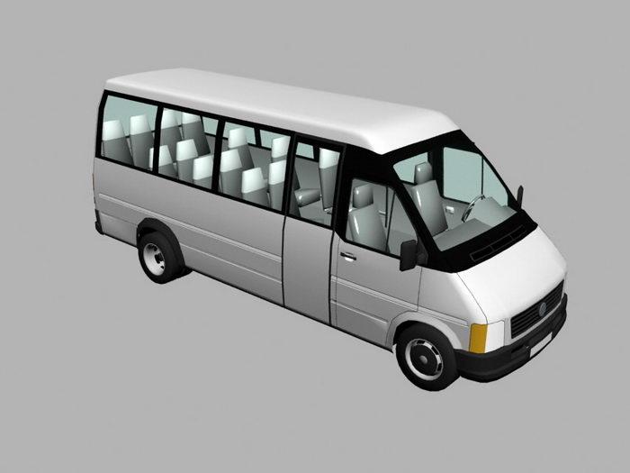 White Minibus 3d rendering