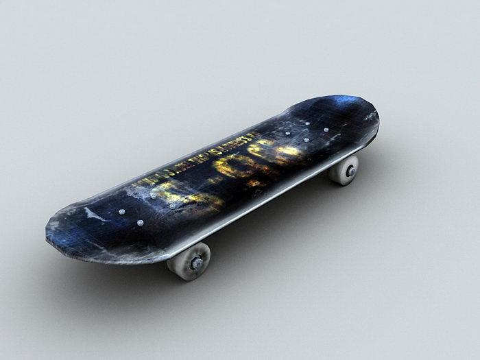 Old Skateboard 3d rendering