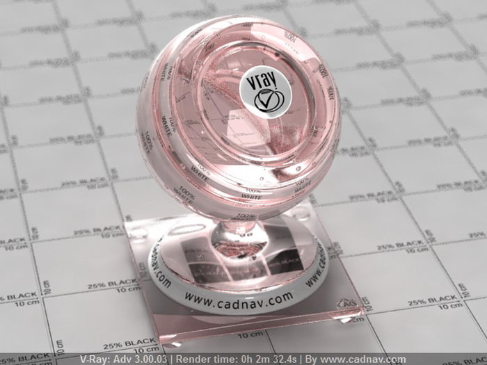 Transparent Red Glass material rendering