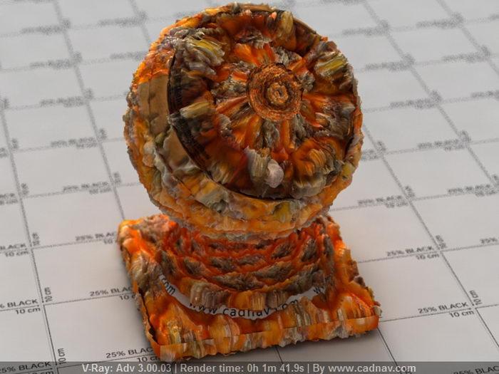 Orange Sea Coral material rendering