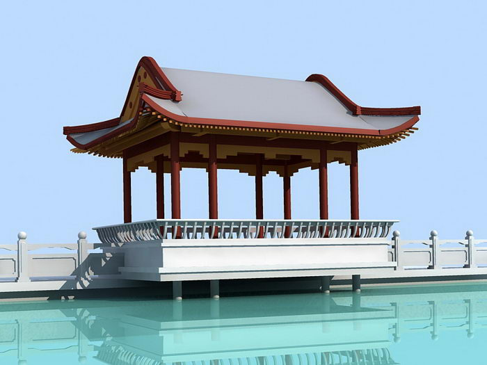Chinese Architecture Waterside Pavilion 3d rendering