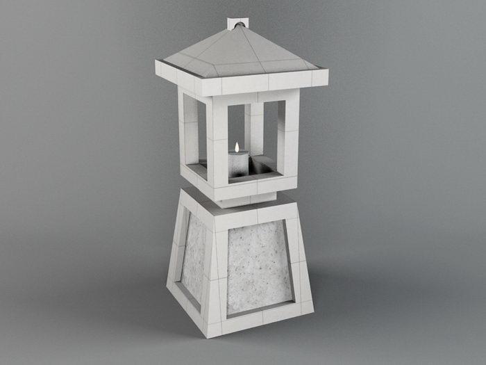 Garden Stone Lantern 3d rendering