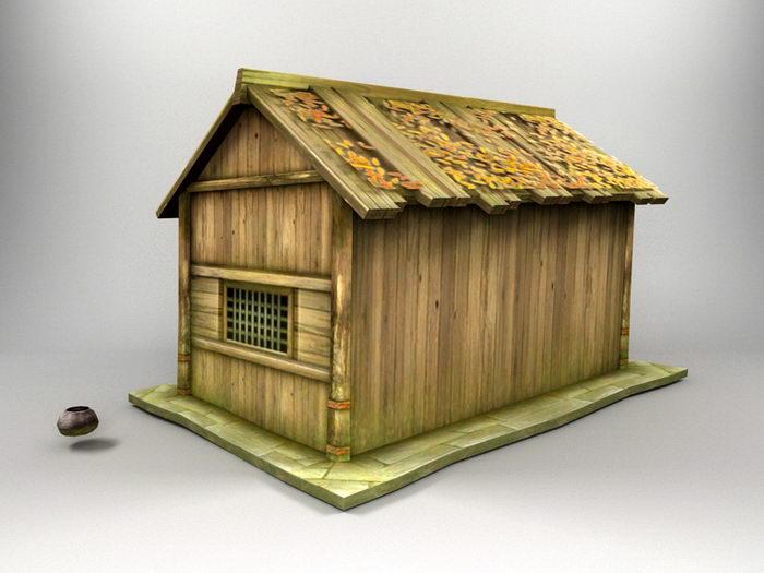 Antique Log Cabin 3d rendering