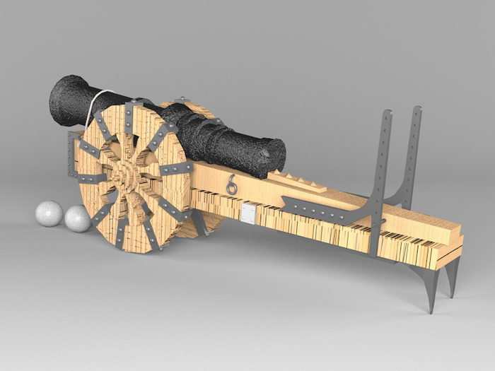 Antique Cannon 3d rendering