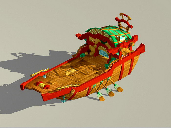 Anime Rowboat 3d rendering