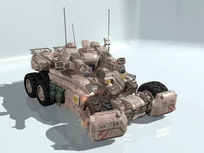 Futuristic Sci-Fi Tank 3d rendering