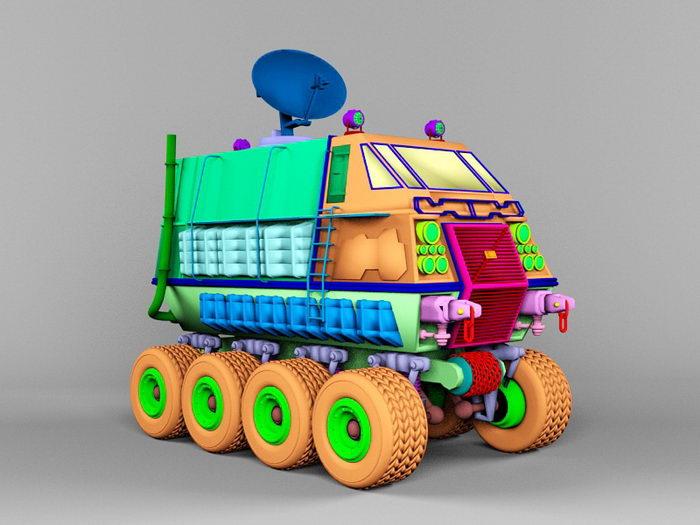 Mobile Satellite Communication Vehicle 3d rendering