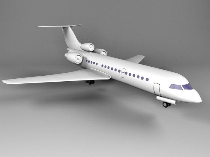Yak-42 Clobber Jet Airliner 3d rendering