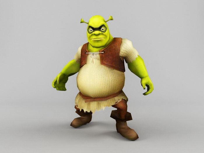 Shrek 3d rendering
