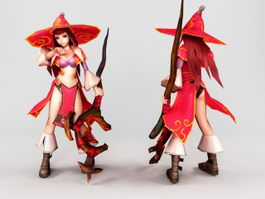 Anime Mage Girl 3d model preview