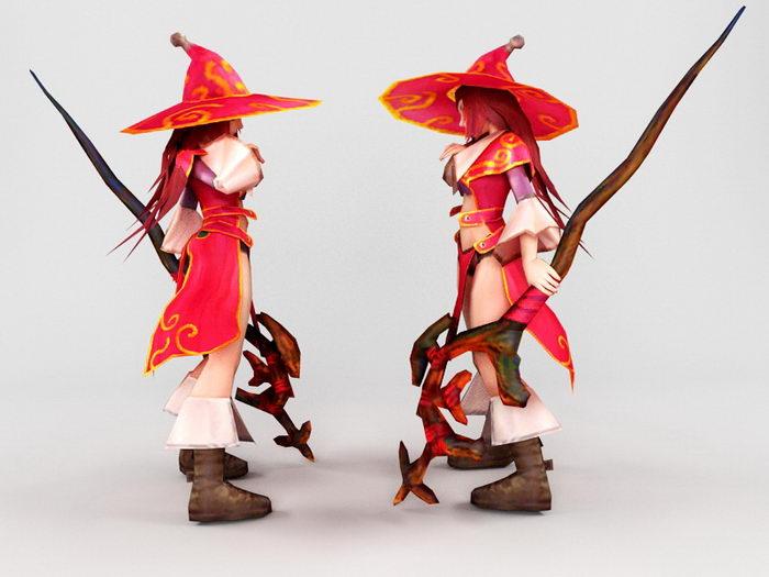 Anime Mage Girl 3d rendering