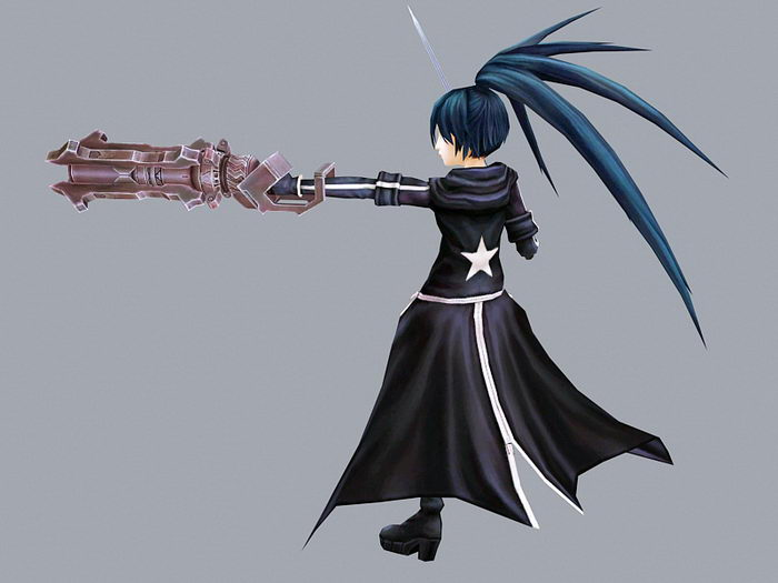 Black Rock Shooter Anime Character 3d rendering