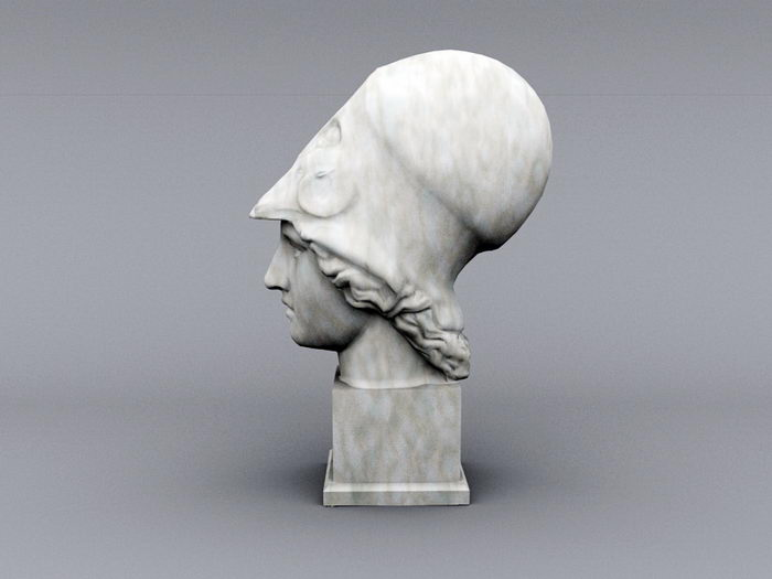 Head of Athena Sculpture 3d rendering