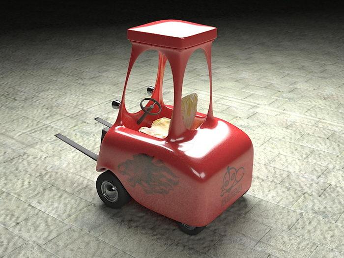 Forklift Cartoon 3d rendering