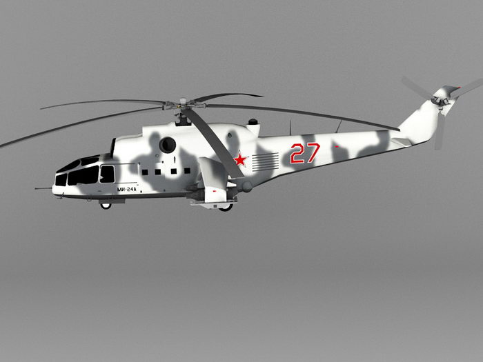 Mi-24A Soviet Attack Helicopter 3d rendering