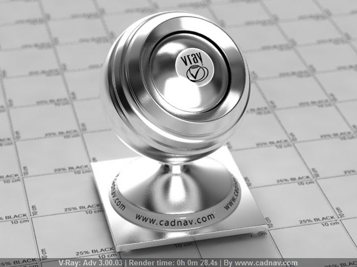 Polished Chrome Finish material rendering