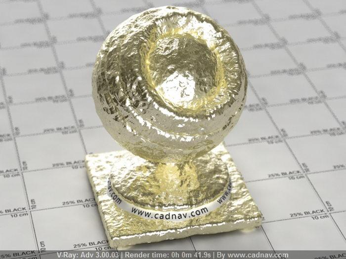 Natural Gold Nugget material rendering