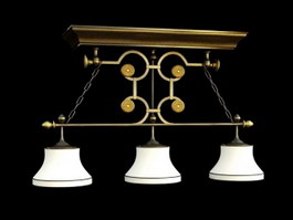 Vintage Pool Table Lights 3d preview