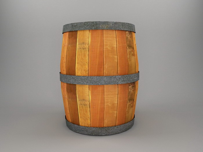 Old Wood Barrel 3d rendering