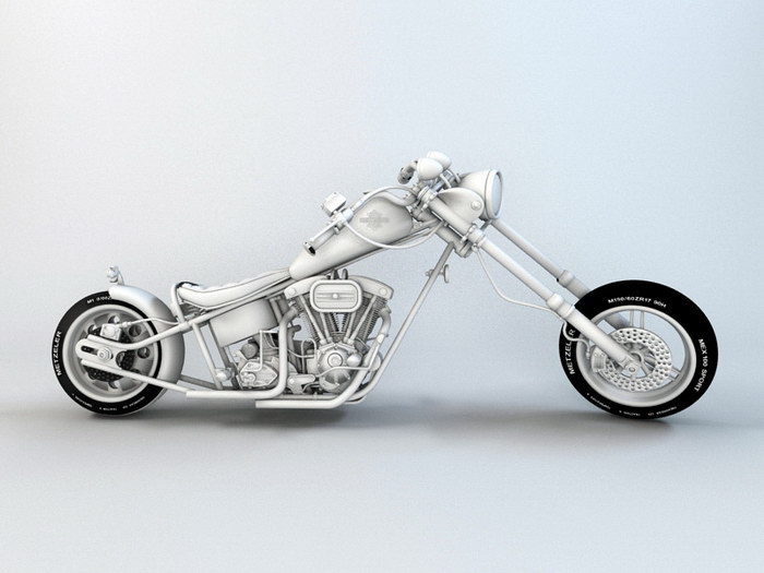 Harley-Davidson Chopper Motorcycle 3d rendering
