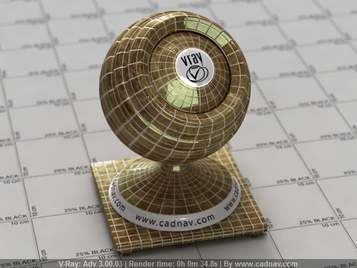 Marble Mosaic Tile material rendering