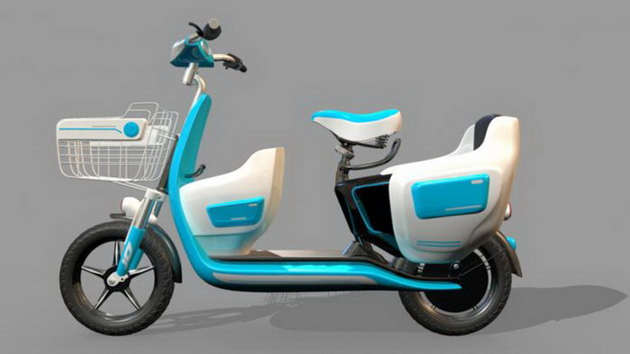Light Blue Moped 3d rendering