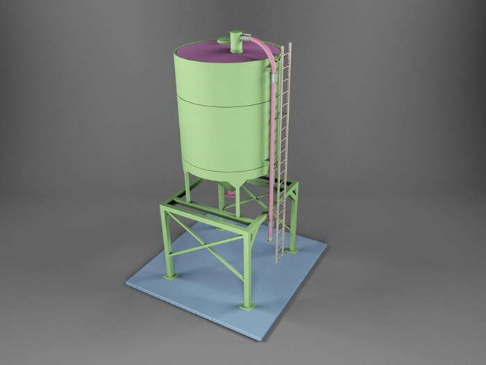 Sand and Gravel Storage Silo 3d rendering