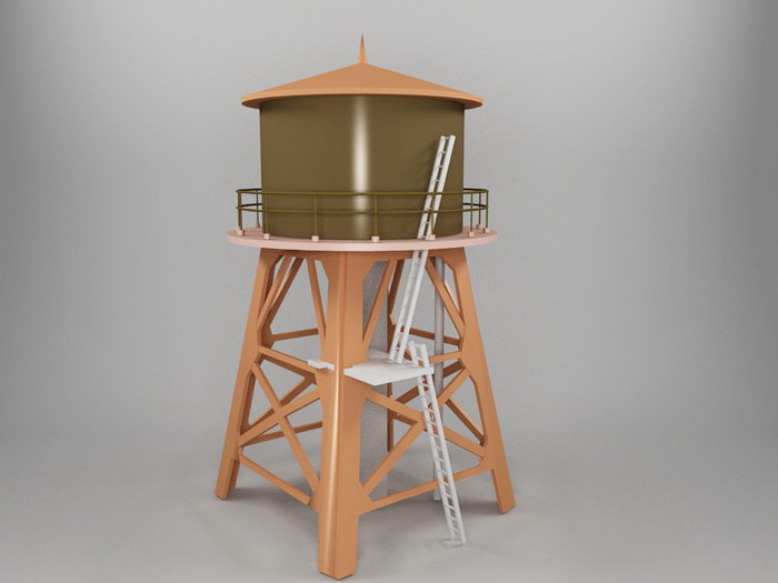 Vintage Water Tower 3d rendering
