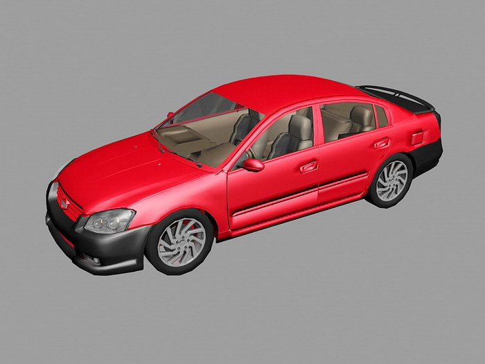 Nissan Altima Red Car 3d rendering