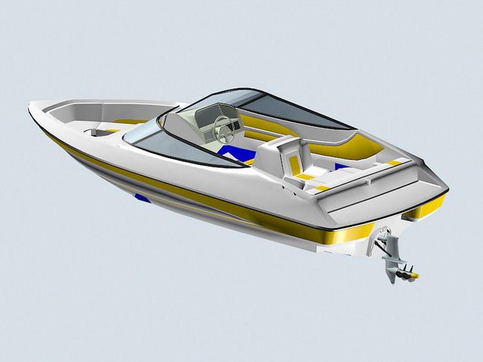 Motorboat 3d rendering