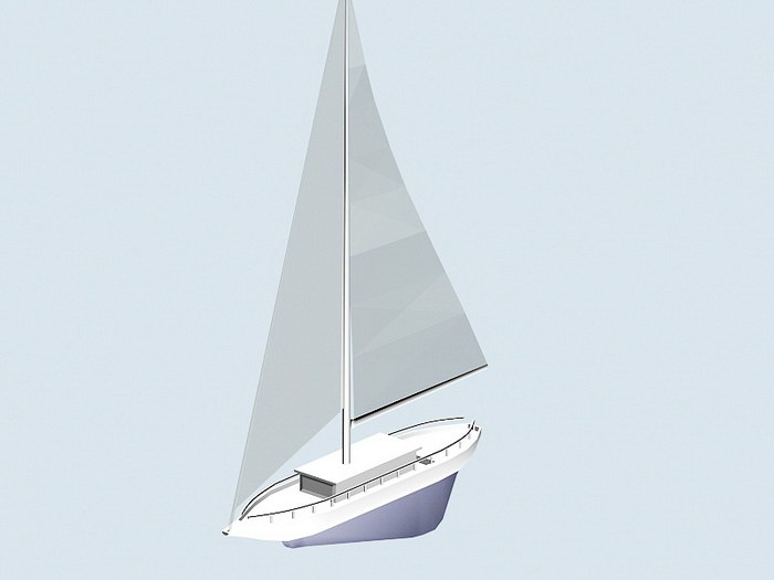 Sloop Sailboat 3d rendering