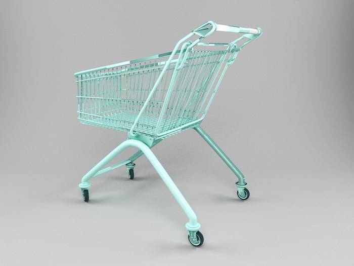 A Shopping Cart 3d rendering