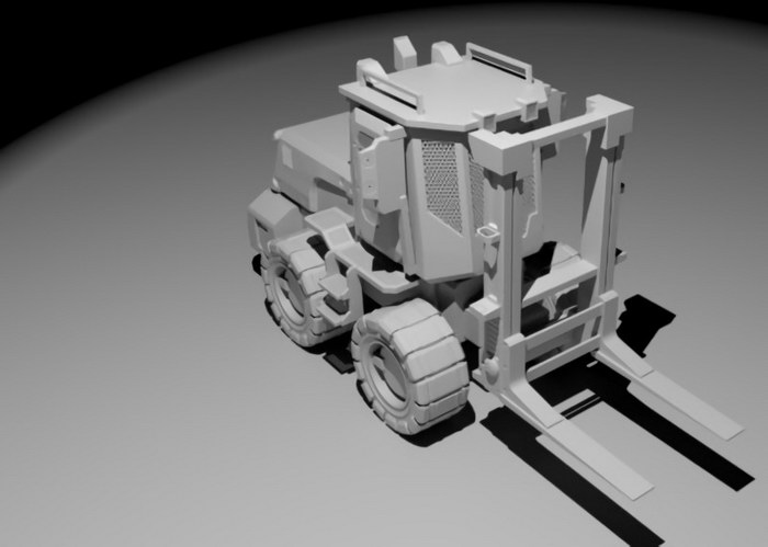 Container Forklift 3d rendering