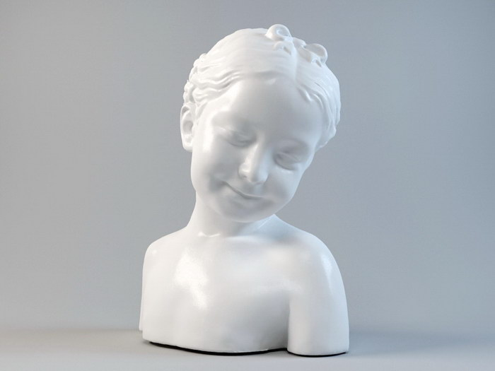 French Girl Bust Statue 3d rendering
