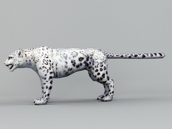 White Snow Leopard 3d rendering