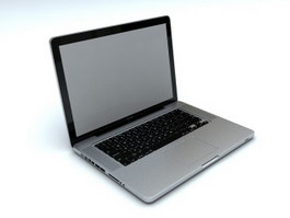 Silver Laptop Computer 3d preview