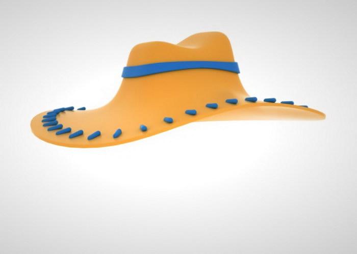Orange Cowboy Hat 3d rendering
