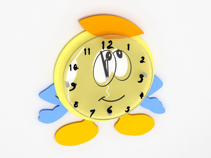 Cartoon Wall Clock 3d rendering