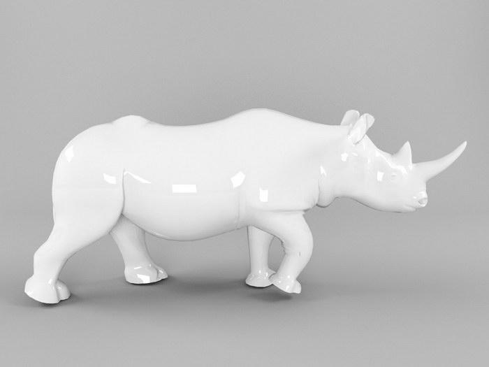 Ceramic Rhino 3d rendering