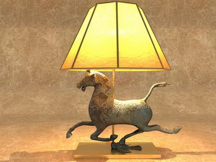 Art Deco Horse Lamp 3d rendering