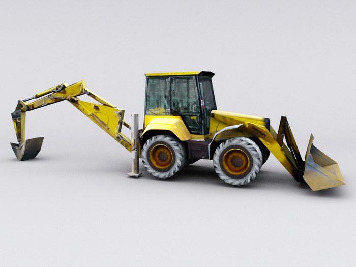 Construction Digger 3d rendering
