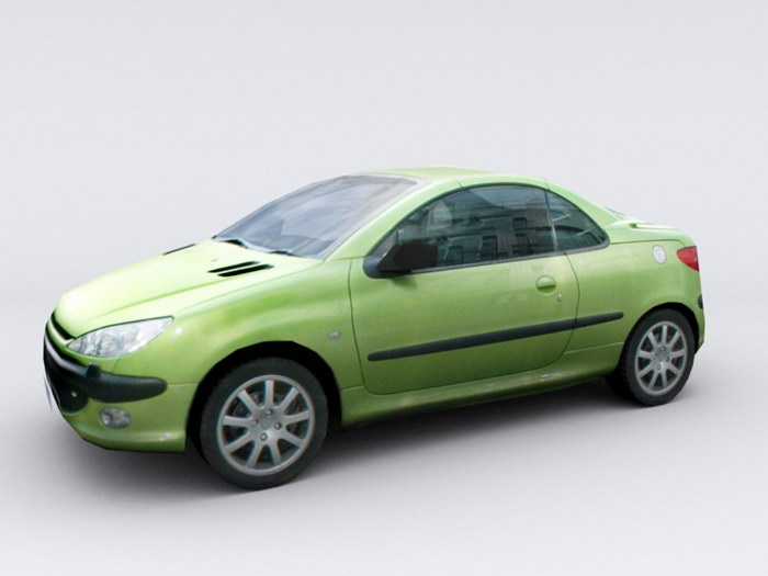 Old Green Car 3d rendering