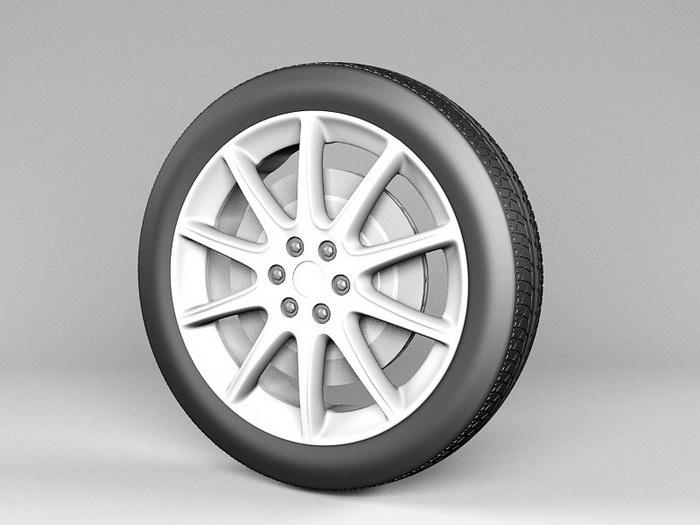 Car Alloy Wheel 3d rendering