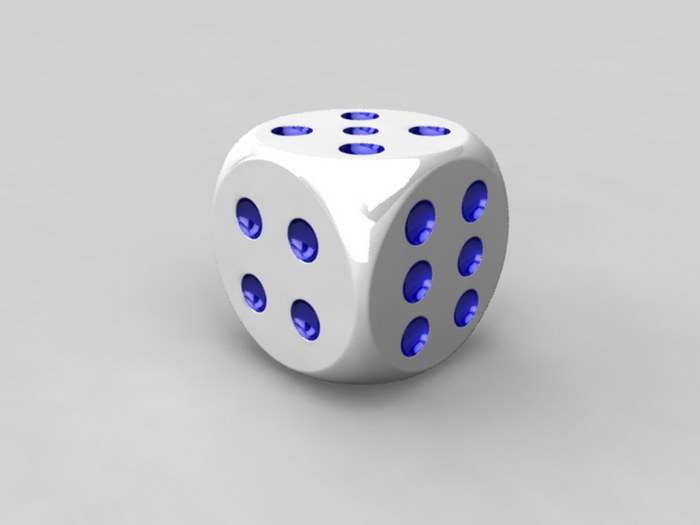 6 Sided Dice 3d rendering