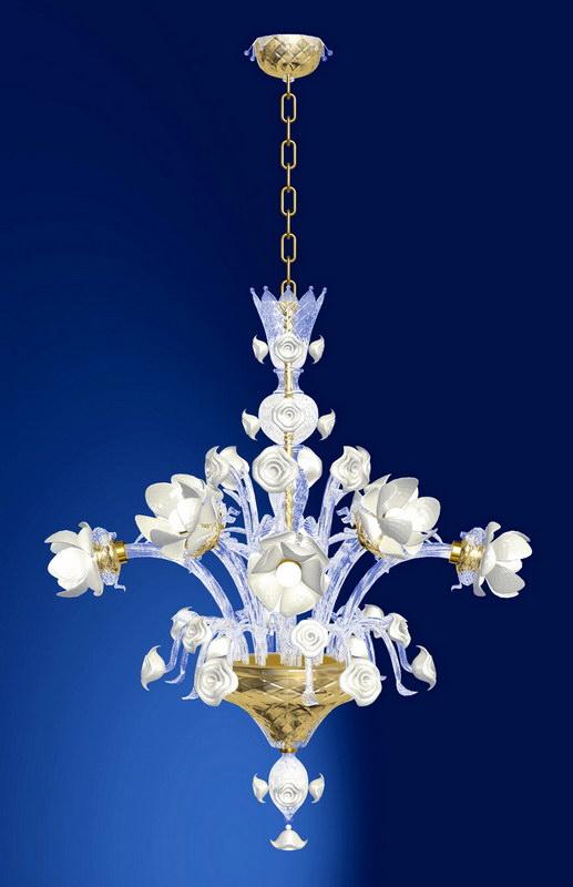 White Flower Chandelier 3d rendering