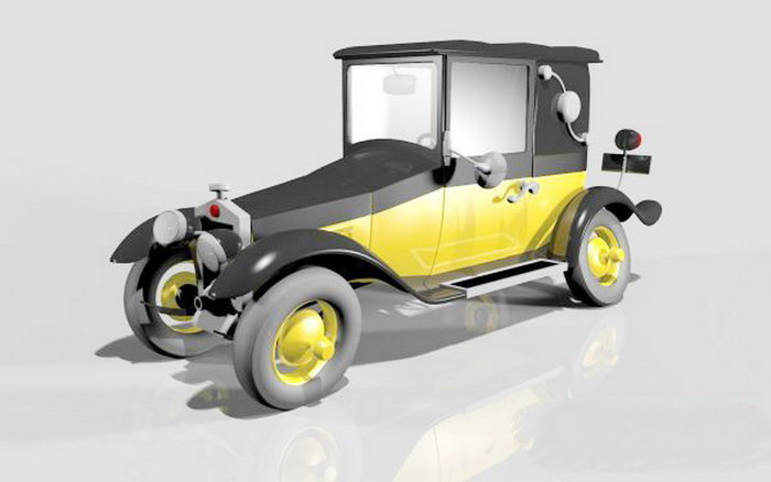 Gaston's Car Fiat 509 3d rendering