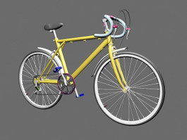 Yellow Racing Bicycle 3d preview