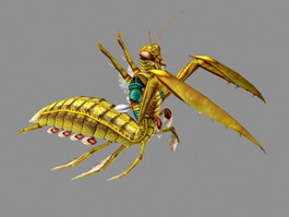 Gold Mantis Animated 3d preview