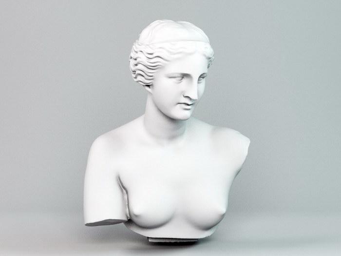 Aphrodite Head Bust Sculpture 3d rendering