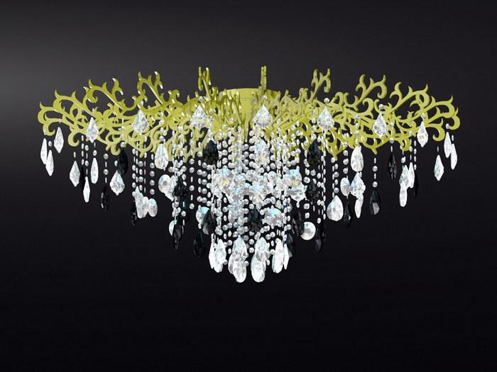 Vintage Crystal Drop Chandelier 3d rendering